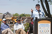 Ken Salazar, Secretary of the U.S. Department of the Interior, speaks at the ceremony preceding the removal of the Great Works Dam from the Penobscot River in Old Town, Maine on Monday, June 11, 2012.  Craig Dilger for The New York Times
