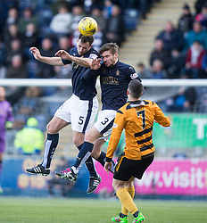 Falkirk's David McCracken and Falkirk's Luke Leahy head clear. <br /> Falkirk 2 v 0 Alloa Athletic, Scottish Championship game played 5/3/2016 at The Falkirk Stadium.