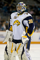 January 23, 2010; San Jose, CA, USA; Buffalo Sabres goalie Ryan Miller (30) before the game against the San Jose Sharks at HP Pavilion. San Jose defeated Buffalo 5-2. Mandatory Credit: Jason O. Watson / US PRESSWIRE