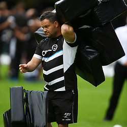 DURBAN, SOUTH AFRICA - MAY 07: Omar Mouneimne (Defence coach) of the Cell C Sharks during the Super Rugby match between Cell C Sharks and Hurricanes at Growthpoint Kings Park on May 07, 2016 in Durban, South Africa. (Photo by Steve Haag /Gallo Images)