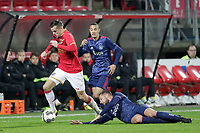 (L-R) Mats Seuntjens of AZ Alkmaar U23, Noussair Mazraoui of Ajax U23, Mitchell Dijks of Ajax U23