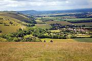 View west along chalk escarpment near Fulking, West Sussex, England