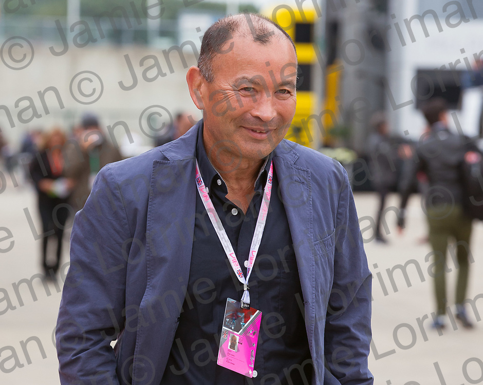 The 2017 Formula 1 Rolex British Grand Prix at Silverstone Circuit, Northamptonshire.<br /> <br /> Pictured: England national rugby union head coach Eddie Jones walks through the F1 paddock at Silverstone Circuit on qualifying day.<br /> <br /> Jamie Lorriman<br /> mail@jamielorriman.co.uk<br /> www.jamielorriman.co.uk<br /> +44 7718 900288