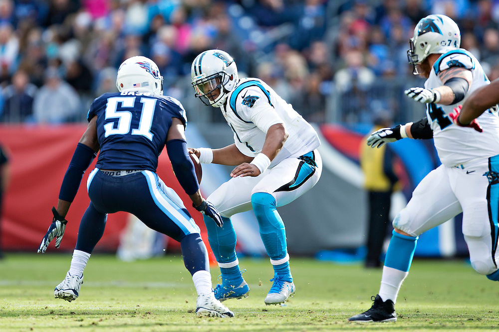 NASHVILLE, TN - NOVEMBER 15:  Cam Newton #1 of the Carolina Panthers is sacked by David Bass #51 of the Tennessee Titans at Nissan Stadium on November 15, 2015 in Nashville, Tennessee.  (Photo by Wesley Hitt/Getty Images) *** Local Caption *** Cam Newton; David Bass