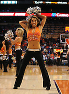 Apr. 11, 2011; Phoenix, AZ, USA; Phoenix Suns dancer performs during a game against the Minnesota Timberwolves at the US Airways Center. The Suns defeated the Timberwolves 135 -127 in overtime. Mandatory Credit: Jennifer Stewart-US PRESSWIRE..