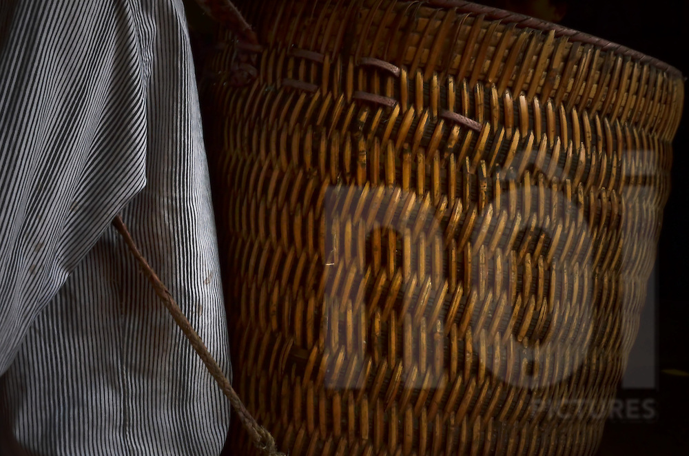 Close-up of a basket carried on someone's back, traditionally used in the fields, in Sapa city, Lao Cai province, North Vietnam.