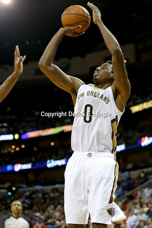 Oct 23, 2013; New Orleans, LA, USA; New Orleans Pelicans small forward Al-Farouq Aminu (0) against the Miami Heat during the first half of a preseason game at New Orleans Arena. Mandatory Credit: Derick E. Hingle-USA TODAY Sports