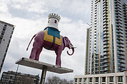 The iconic elephant at Elephant and Castle shopping centre, on 29th March, 2018 in London, England.