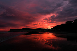 © Licensed to London News Pictures. <br /> 23/12/2016. <br /> Saltburn-by-the-Sea, UK.  <br /> <br /> The first light of dawn illuminates the sky over the beach at Saltburn by the Sea as the UK braces itself for the arrival of Storm Barbara.<br /> Severe weather warnings are in place across the country with winds of up to 90mph expected in some areas.<br /> <br /> <br /> Photo credit: Ian Forsyth/LNP