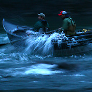 Fishing guide Mike Zavadlov, right, and fisherman Mike Naiman make their way through the Oxbow rapids on the Hoh River on Thursday, February 5, 2009 on the Hoh River..(Photo by Joshua Trujillo/Seattle Post-Intelligencer)..