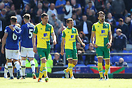 The Norwich players look dejected after conceding their side&rsquo;s 2nd goal during the Barclays Premier League match at Goodison Park, Liverpool<br /> Picture by Paul Chesterton/Focus Images Ltd +44 7904 640267<br /> 15/05/2016