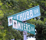 A street named after returning military veterans during the Maplewood section's 70th anniversary celebration Saturday, June 18, 2016 in Doylestown, Pennsylvania.   (Photo by William Thomas Cain)