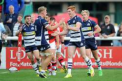 Bristol Rugby Outside Centre Jack Tovey  celebrates scoring a try with Bristol Rugby Number 8 Mitch Eadie- Mandatory byline: Dougie Allward/JMP - 07966 386802 - 13/09/2015 - RUGBY UNION - Old Deer Park - Richmond, London, England - London Welsh v Bristol Rugby - Greene King IPA Championship.