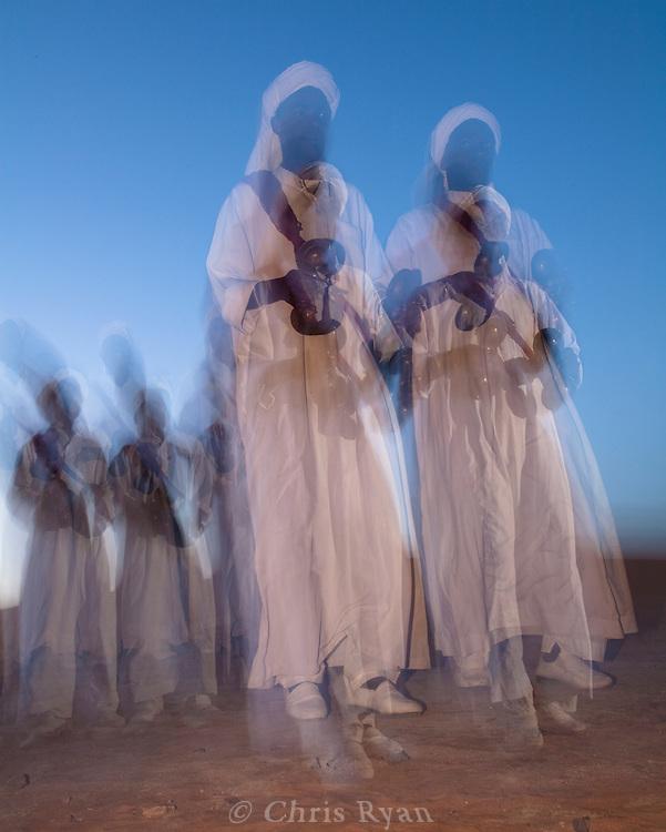 Dancers in the Sahara Desert near Merzouga, Morocco