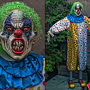 Twisty the Clown costume from television series American Horror Story out side  of brownstone in Greenwich Village, NYC.