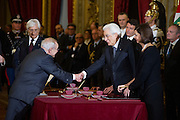 Rome dec 21th 2015, swearing-in ceremony of  new Constitutional Court members. In the picture Franco Modugno, Sergio Mattarella