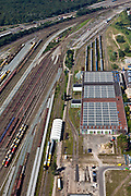 Nederland, Utrecht, Amersfoort, 06-09-2010; spooremplacement van station Amersfoort, rechts  Wagenwerkplaats..Rail yards Amersfoort Station.luchtfoto (toeslag), aerial photo (additional fee required).foto/photo Siebe Swart