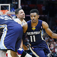 09 November 2015: Memphis Grizzlies guard Mike Conley (11) drives past Los Angeles Clippers guard Austin Rivers (25) on a screen set by Memphis Grizzlies forward Zach Randolph (50) during the Los Angeles Clippers 94-92 victory over the Memphis Grizzlies, at the Staples Center, in Los Angeles, California, USA.