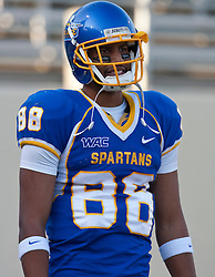 October 10, 2009; San Jose, CA, USA;  San Jose State Spartans wide receiver Jalal Beauchman (88) before the game against the Idaho Vandals at Spartan Stadium.  Idaho won 29-25.