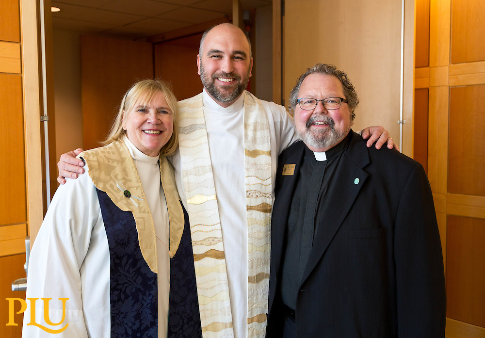 Ivar Hillesland '02, with Revs. Nancy Connor and Dennis Sepper after the Homecoming worship in Lagerquist Hall at PLU on Sunday, Oct. 5, 2014. (PLU Photo/John Froschauer)