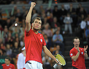 Jerzy Janowicz of Poland competes during first day the BNP Paribas Davis Cup 2013 between Poland and Slovenia at Hala Stulecia in Wroclaw on February 1st, 2013..Photo by: Piotr Hawalej