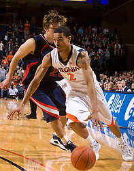Virginia guard Mustapha Farrakhan (2) in action against Liberty.  The Virginia Cavaliers fell to the Liberty Flames 86-82 in NCAA Division 1 men's basketball at the University of Virginia's John Paul Jones Arena  in Charlottesville, VA on March 9, 2008.