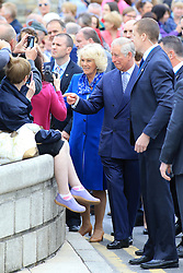 Britain's Prince Charles and the Duchess of Cornwall go walk-about in Donegal town in the Irish Republic, Wednesday, May 25th, 2016. Prince Charles is on the final day of a 3 trip to Northern Ireland and the Irish Republic. Photo/Paul McErlane © Licensed to London News Pictures. 25/05/2016. Donegal, Ireland, Britain's Prince Charles and the Duchess of Cornwall go walk-about in Donegal town in the Irish Republic, Wednesday, May 25th, 2016. Prince Charles is on the final day of a 3 trip to Northern Ireland and the Irish Republic.  Photo credit: Paul McErlane/LNP