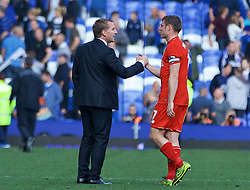 LIVERPOOL, ENGLAND - Sunday, October 4, 2015: Liverpool's manager Brendan Rodgers shakes hands with James Milner after the 1-1 draw with Everton, which was his last game in charge of the Reds, during the Premier League match at Goodison Park, the 225th Merseyside Derby. (Pic by Lexie Lin/Propaganda)