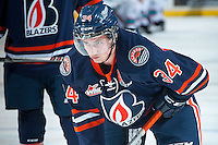KELOWNA, CANADA - DECEMBER 28: Deven Sideroff #34 of Kamloops Blazers stands on the ice at the Kelowna Rockets on December 28, 2015 at Prospera Place in Kelowna, British Columbia, Canada.  (Photo by Marissa Baecker/Shoot the Breeze)  *** Local Caption *** Deven Sideroff;