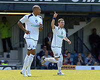 Photo: Ashley Pickering.<br /> Southend United v Colchester United. Coca Cola Championship. 06/04/2007.<br /> Jamie Cureton (R) celebrates the opening goal for Colchester (0-1)