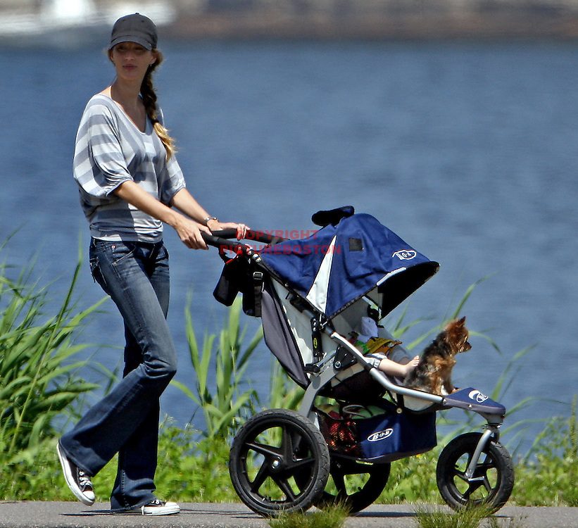 "June 3 2010, Gisele Bundchen walks with her son Benjamin, small dog ""Vida"" and Bull Terrier ""Lua"" in Boston today."
