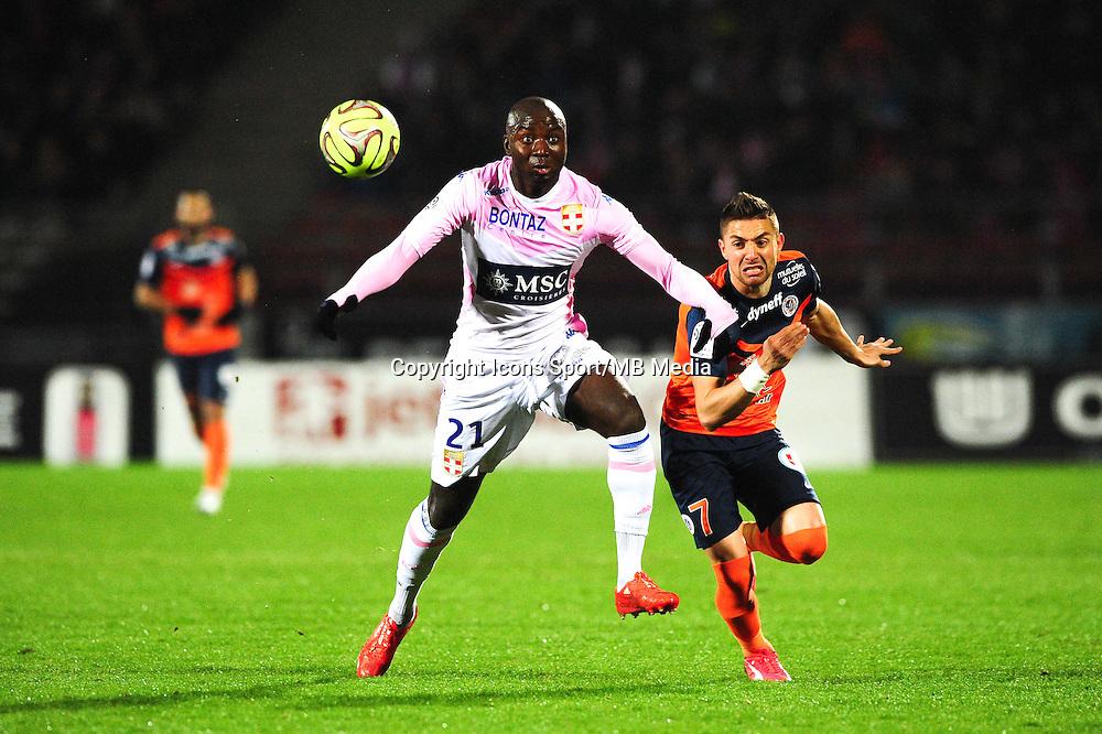 Cedric MONGONGU / Anthony MOUNIER - 21.03.2015 - Evian Thonon / Montpellier - 30eme journée de Ligue 1 -<br />Photo : Jean Paul Thomas / Icon Sport