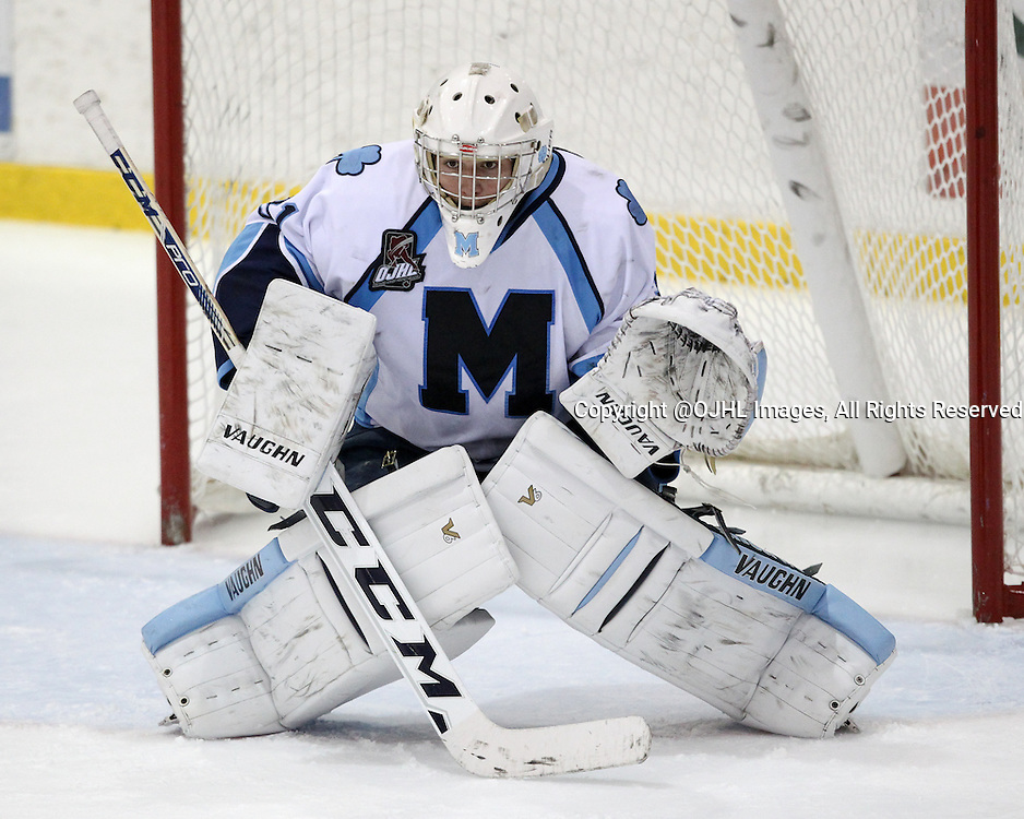 Oakville, ON - Oct. 9 2015 : Ontario Junior Hockey League game action between Oakville and St. Michaels. Mark Manolescu #31 of the St.Michael's Buzzers.  (Photo by Kevin Sousa/OJHLimages)