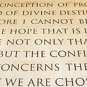 Words from a Wilson speech etched into the wall at the Woodrow Wilson Presidential Memorial Exhibit and Learning Center in the Ronald Reagan Building in downtown Washington DC. The Memorial commemorates the 28th American president.