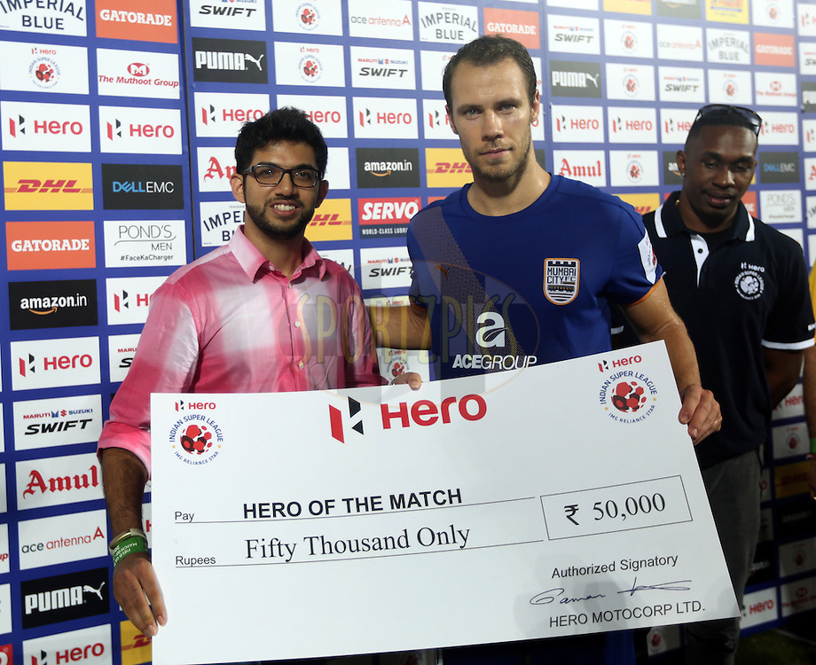Hero Branding during match 7 of the Indian Super League (ISL) season 3 between Mumbai City FC and NorthEast United FC held at the Mumbai Football Arena in Mumbai, India on the 7th October 2016.<br /> <br /> Photo by Sandeep Shetty / ISL/ SPORTZPICS
