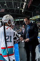 KELOWNA, CANADA - JANUARY 9: Kris Mallette, assistant coach of the Kelowna Rockets discusses a play against the Tri City Americans on January 9, 2016 at Prospera Place in Kelowna, British Columbia, Canada.  (Photo by Marissa Baecker/Shoot the Breeze)  *** Local Caption *** Kris Mallette;