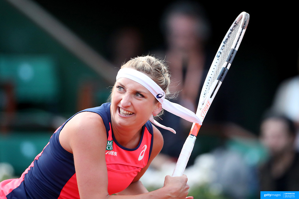 2017 French Open Tennis Tournament - Day Ten.  Timea Bacsinszky of Switzerland in action during her win against Kristina Mladenovic of France in the Women's Singles Quarter Final match on Philippe-Chatrier Court at the 2017 French Open Tennis Tournament at Roland Garros on June 5th, 2017 in Paris, France.  (Photo by Tim Clayton/Corbis via Getty Images)