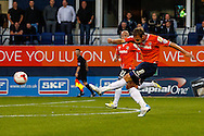 Andy Drury of Luton Town shoots during the Sky Bet League 2 match at Kenilworth Road, Luton<br /> Picture by David Horn/Focus Images Ltd +44 7545 970036<br /> 19/08/2014