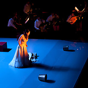 "November 12, 2013 - New York, NY : Soprano Anna Caterina Antonacci, foreground, -- accompanied by soloists from the orchestra Les Siècles -- performs in a dress rehearsal for the U.S. premiere of ""Era la Notte,"" staged by Juliette Deschamps as part of Lincoln Center's White Light Festival, at the Rose Theater in Manhattan on Tuesday evening. CREDIT: Karsten Moran for The New York Times"
