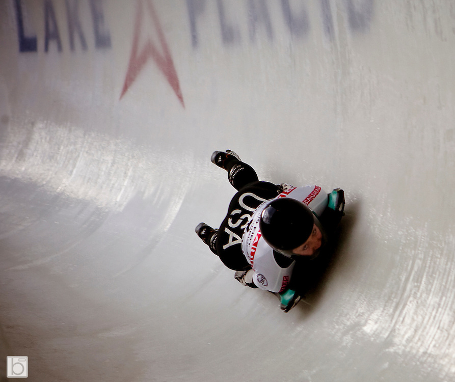 USA's Katie Uhlaender slides through a curve during the third run at the women's Skeleton World Championships at the Olympic Sports Complex in Lake Placid, N.Y. Friday, Feb 27, 2009. With her time in this run, Uhlaender moved from 12th to seventh position with one run to go.  (Photo/Todd Bissonette - usabobsledphotos.com)