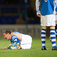 St Johnstone v Hibs..28.11.12      SPL<br /> David Robertson shouts in pain after a tackle breaks his leg<br /> Picture by Graeme Hart.<br /> Copyright Perthshire Picture Agency<br /> Tel: 01738 623350  Mobile: 07990 594431