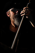 J.J. Culpepper playing upright bass with April Mae & The Junebugs at The Bus Stop Music Cafe.