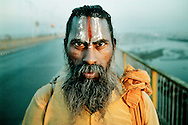 Khumb Mela, Hindu festival in Allahabad, India.<br /> Khumb Mela attracts Saddhus, holy men, from all of India. They live in tent camps along the river banks.