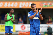 AFC Wimbledon striker Kweshi Appiah (9) clapping during the EFL Sky Bet League 1 match between AFC Wimbledon and Rotherham United at the Cherry Red Records Stadium, Kingston, England on 3 August 2019.
