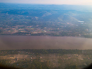 16 JUNE 2016 - PAKSE, CHAMPASAK, LAOS:  The Mekong River as seen from a Lao Airlines flight to Pakse.      PHOTO BY JACK KURTZ