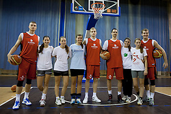 Slovenian players with girls from RK Olimpija before session of team Slovenia before Round 2 at Day 8 of Eurobasket 2013 on September 11, 2013 in Jezica Hall, Ljubljana, Slovenia. (Photo By Urban Urbanc / Sportida.com)