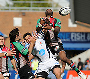 Twickenham, GREAT BRITAIN, High ball scramble, right, Quins, Ugo MONYE and left, Bristol's Neil BREW, jump for the high ball, during the Guinness Premiership match,  Harlequins vs Bristol Rugby, at The Stoop Stadium, Surrey on Sat 13.09.2008. [Photo, Peter Spurrier/Intersport-images]