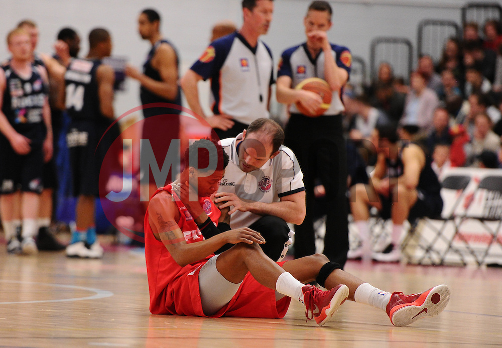 Bristol Flyers' Bree Perine receives treatemant  - Photo mandatory by-line: Joe Meredith/JMP - Mobile: 07966 386802 - 11/04/2015 - SPORT - Basketball - Bristol - SGS Wise Campus - Bristol Flyers v Glasgow Rocks - British Basketball League