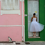 Ballerina dancing in the historical district Pelourinho in Salvador de Bahia
