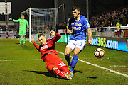Luke Norris (33) of Swindon Town battles for possession with Mike Green (3) of Eastleigh during the The FA Cup match between Eastleigh and Swindon Town at Arena Stadium, Eastleigh, United Kingdom on 4 November 2016. Photo by Graham Hunt.